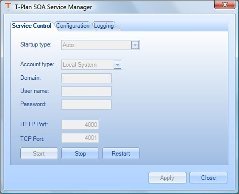 T-Plan Service Manager, Service Control tab